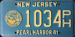 New Jersey Pearl Harbor 41 1941 License Plate