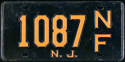 New Jersey No Fee Exempt License Plate 1957