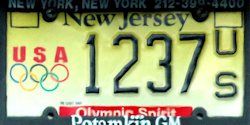 New Jersey Olympic Spirit License Plate