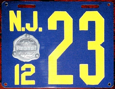New Jersey Fake License Plate 1912