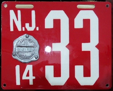 New Jersey Fake License Plate 1914