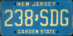 New Jersey License Plate 1982