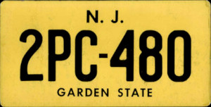 New Jersey License Plate Movie Prop