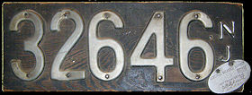 New Jersey License Plate 1907