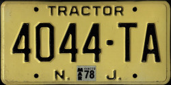 New Jersey Tractor License Plate 1978