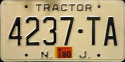 New Jersey Tractor License Plate 1980