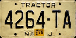 New Jersey Tractor License Plate 1979