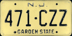 New Jersey License Plate 1975