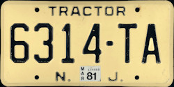 New Jersey Tractor License Plate 1981