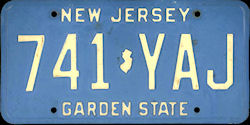 New Jersey License Plate 1984