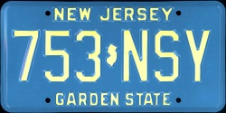 New Jersey License Plate 1980