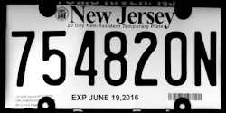 New Jersey Non-Resident Temporary Tag License Plate