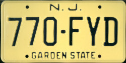New Jersey License Plate 1976