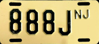 New Jersey No Fee Exempt Motorcycle License Plate