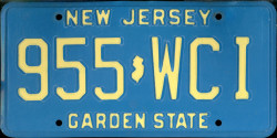New Jersey License Plate 1983
