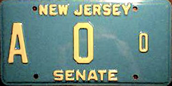 New Jersey State Senate License Plate