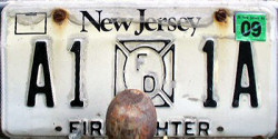 New Jersey Firefighter FD License Plate