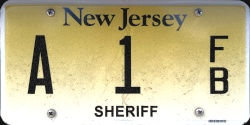 New Jersey County Government Sheriff License Plate