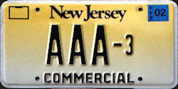 New Jersey Commercial Truck License Plate 2002