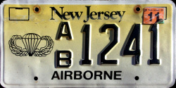 New Jersey Airborne License Plate