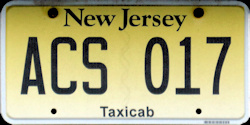 New Jersey Taxi Taxicab Vanity License Plate