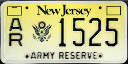 New Jersey Army Reserve License Plate