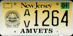 New Jersey AMVETS License Plate