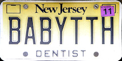 New Jersey Dentist License Plate