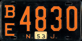 New Jersey License Plate 1953