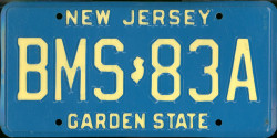 New Jersey License Plate 1986