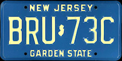 New Jersey License Plate 1987