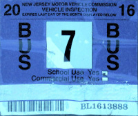New Jersey Bus Windshield Sticker