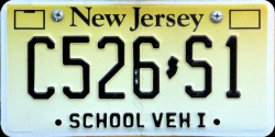 New Jersey School Bus Vehicle I License Plate