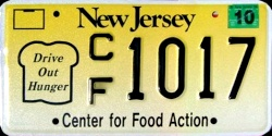 New Jersey Center For Food Action License Plate