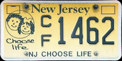 New Jersey Choose Life Pro Choice License Plate