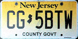 New Jersey County Government License Plate