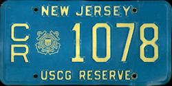 New Jersey Coast Guard Reserve License Plate