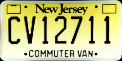 New Jersey Commuter Van License Plate