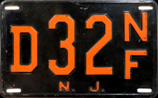 New Jersey No Fee Exempt License Plate 1952