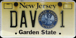 New Jersey Disabled American Veterans State Commander License Plate