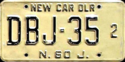 New Jersey New Car Dealer License Plate