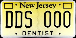 New Jersey Dentist DDS License Plate
