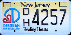 New Jersey Healing Hearts Deborah Hospital License Plate