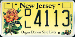 New Jersey Organ Donors Save Lives License Plate