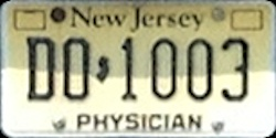 New Jersey Physician Doctor DO License Plate
