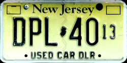 New Jersey Used Car Dealer License Plate