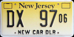 New Jersey Unknown Dealer License Plate