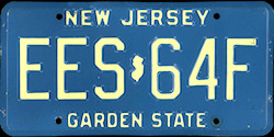 New Jersey License Plate 1988