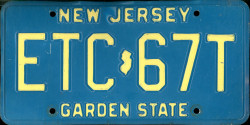 New Jersey License Plate 1989