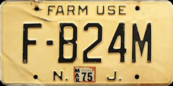 New Jersey Farmer Farm Use License Plate